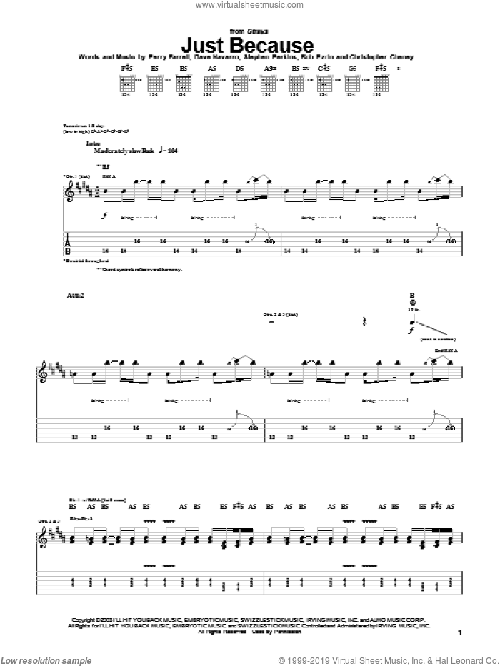 Just Because sheet music for guitar (tablature) by Jane's Addiction, Dave Navarro, Perry Farrell and Stephen Perkins, intermediate skill level