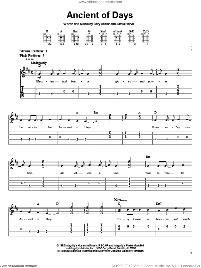 Ancient Of Days sheet music for guitar solo (easy tablature) by Petra, Gary Sadler and Jamie Harvill, easy guitar (easy tablature)