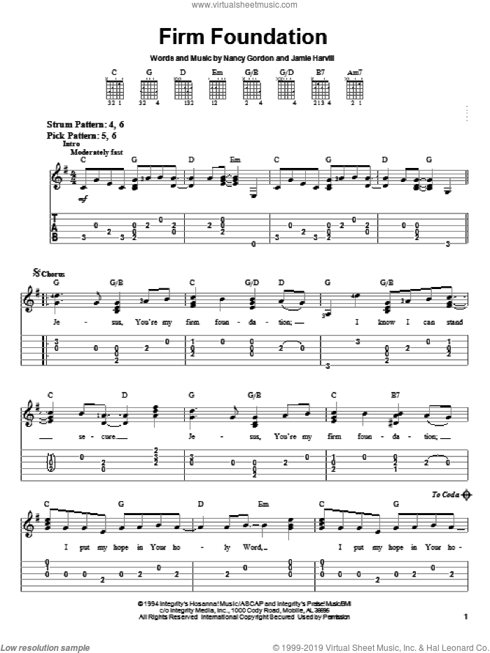 Firm Foundation sheet music for guitar solo (easy tablature) by Nancy Gordon and Jamie Harvill, easy guitar (easy tablature)