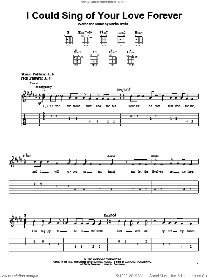 I Could Sing Of Your Love Forever sheet music for guitar solo (easy tablature) by Delirious?, Passion Band and Martin Smith, wedding score, easy guitar (easy tablature)