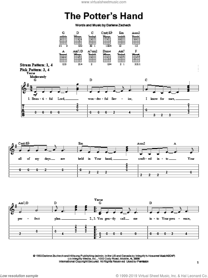The Potter's Hand sheet music for guitar solo (easy tablature) by Darlene Zschech, easy guitar (easy tablature)