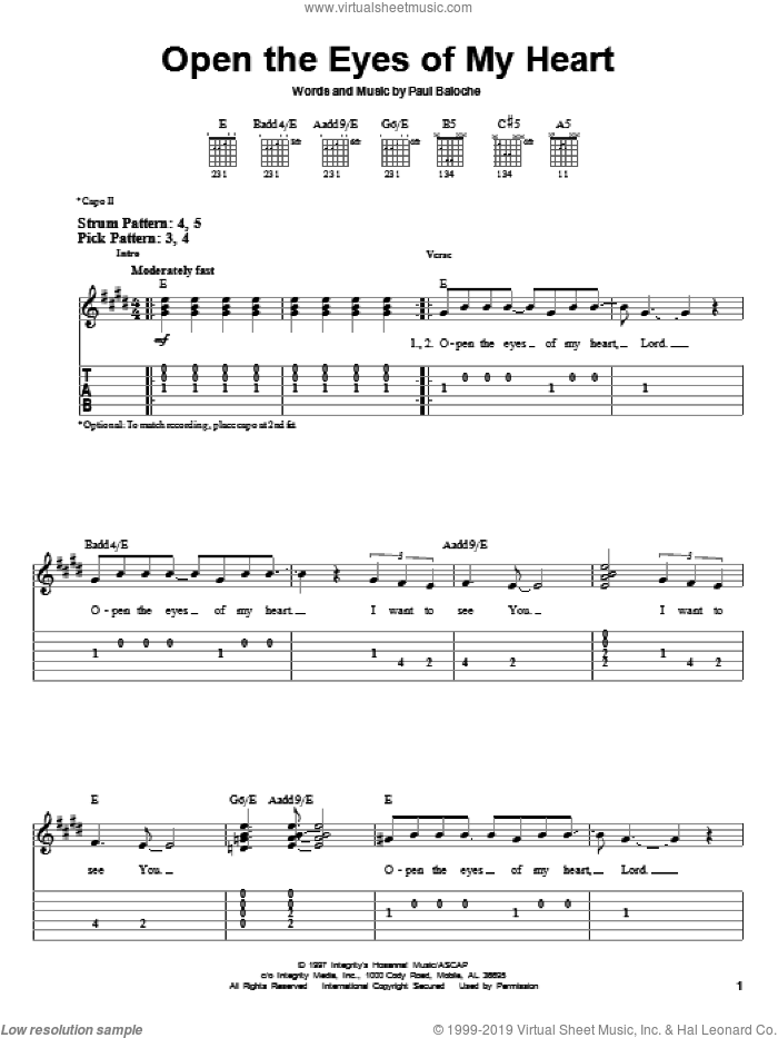 Open The Eyes Of My Heart sheet music for guitar solo (easy tablature) by Paul Baloche and Sonicflood, easy guitar (easy tablature)