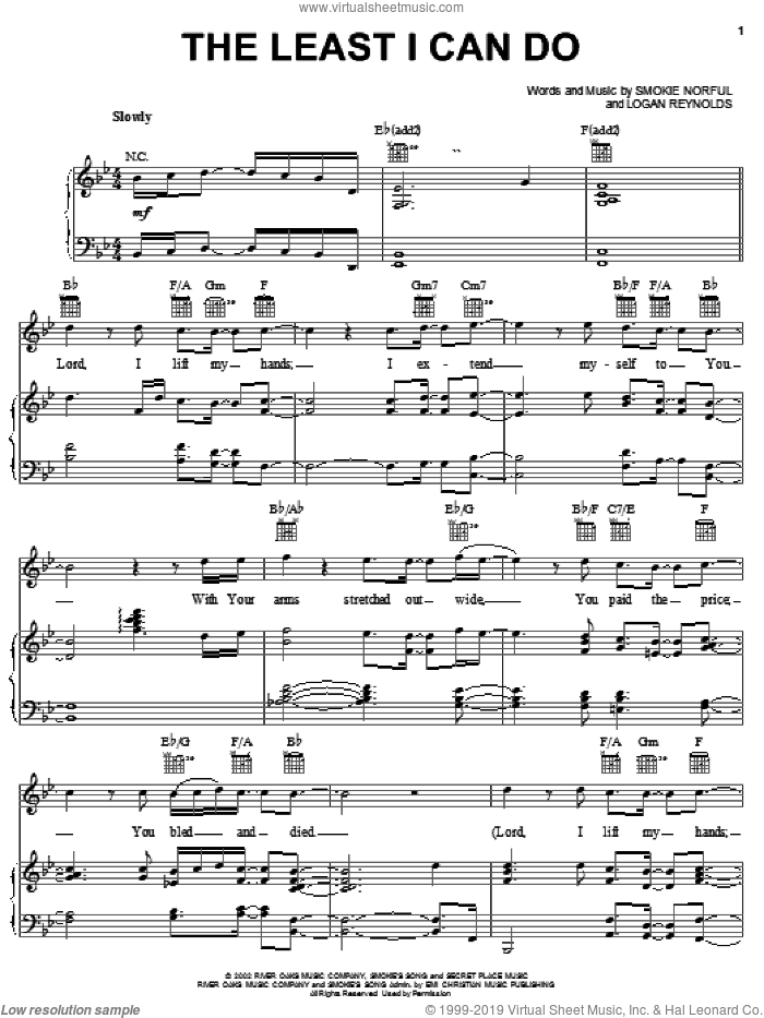The Least I Can Do sheet music for voice, piano or guitar by Logan Reynolds and Smokie Norful. Score Image Preview.