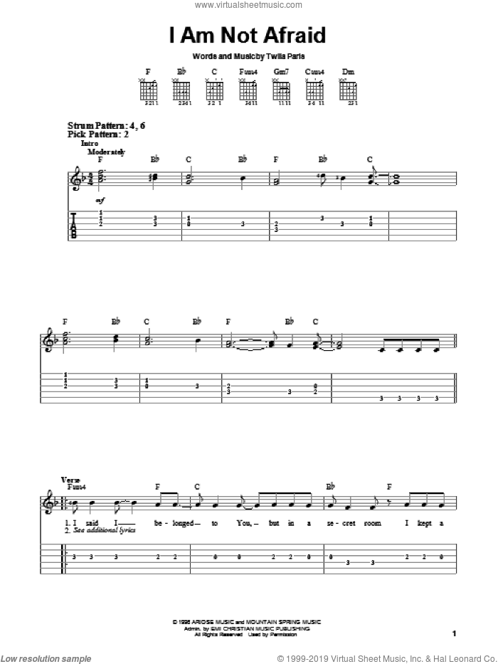 I Am Not Afraid sheet music for guitar solo (chords) by Twila Paris, easy guitar (chords)