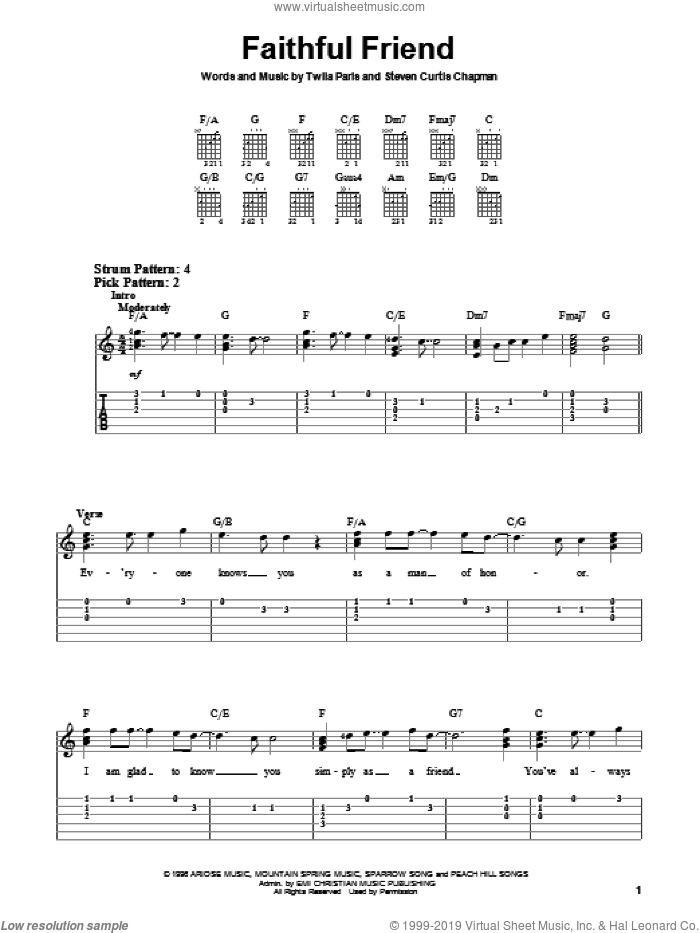 Faithful Friend sheet music for guitar solo (chords) by Steven Curtis Chapman and Twila Paris. Score Image Preview.
