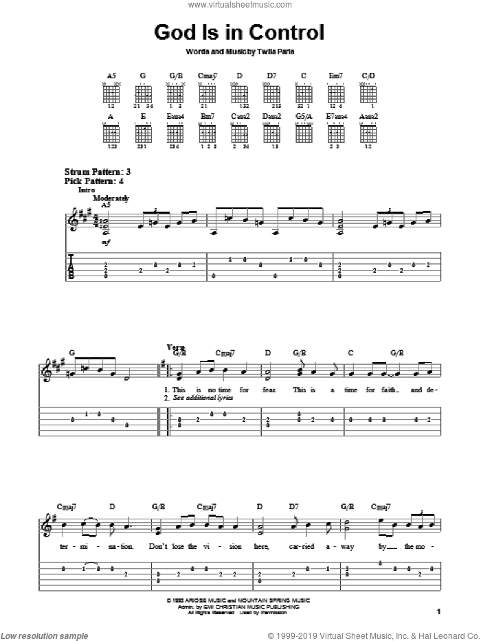 God Is In Control sheet music for guitar solo (chords) by Twila Paris. Score Image Preview.