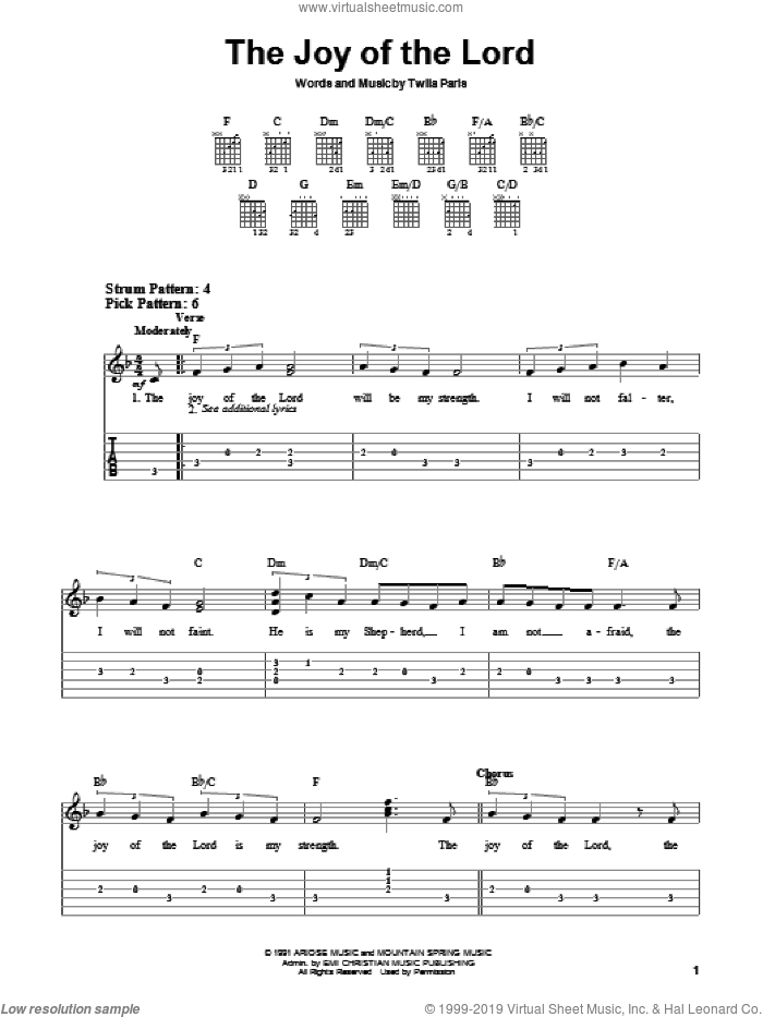 The Joy Of The Lord sheet music for guitar solo (chords) by Twila Paris, easy guitar (chords)
