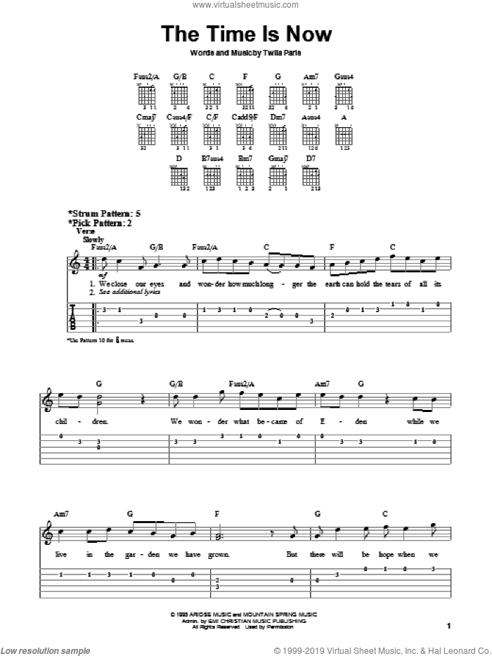 The Time Is Now sheet music for guitar solo (chords) by Twila Paris. Score Image Preview.