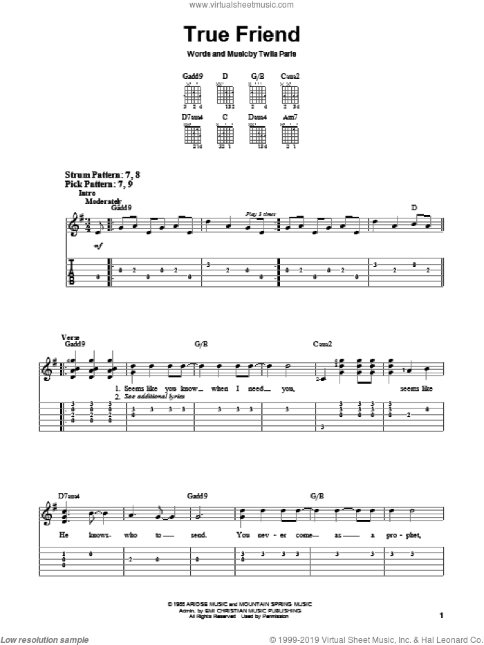 True Friend sheet music for guitar solo (chords) by Twila Paris, easy guitar (chords)