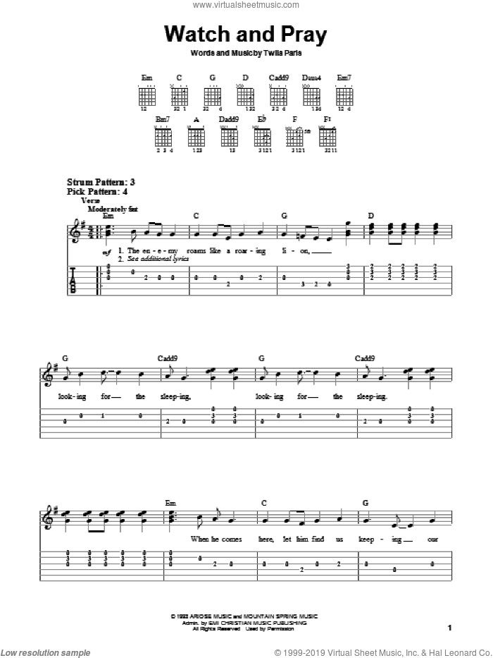 Watch And Pray sheet music for guitar solo (chords) by Twila Paris, easy guitar (chords)