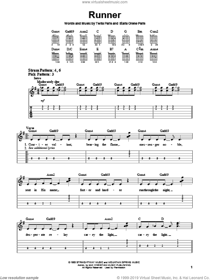Runner sheet music for guitar solo (chords) by Twila Paris and Starla Orene Paris, easy guitar (chords)