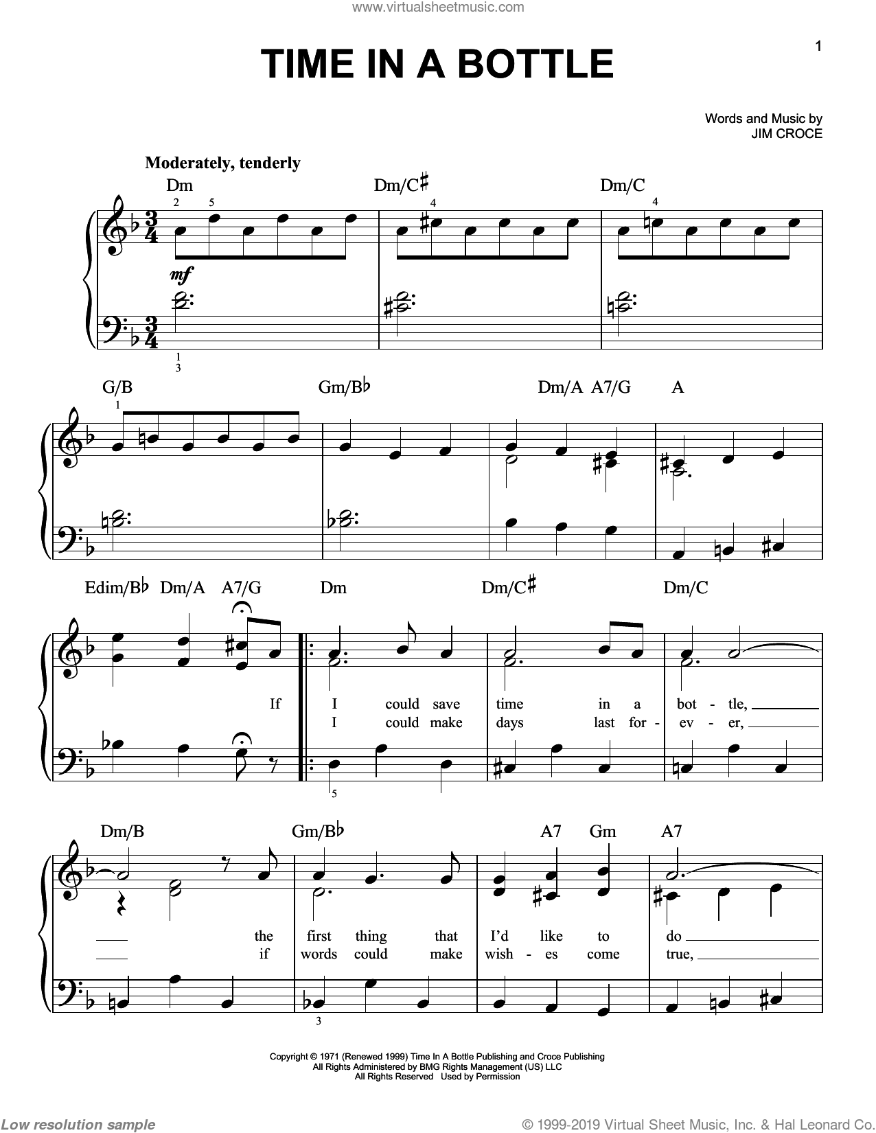 Time In A Bottle, (easy) sheet music for piano solo by Jim Croce, easy skill level