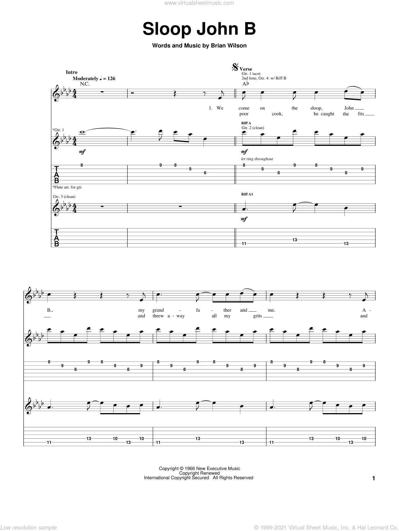 Sloop John B sheet music for guitar (tablature) by The Beach Boys and Brian Wilson, intermediate skill level