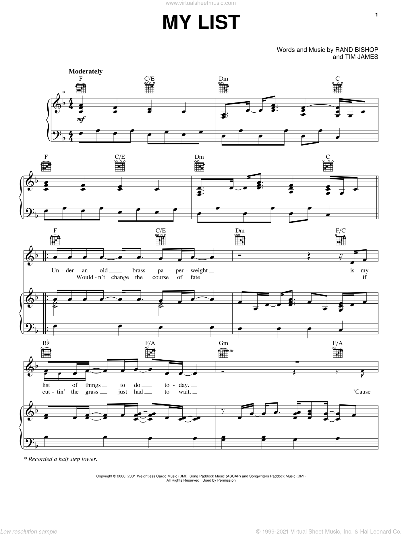 My List sheet music for voice, piano or guitar by Toby Keith, Rand Bishop and Tim James, intermediate skill level