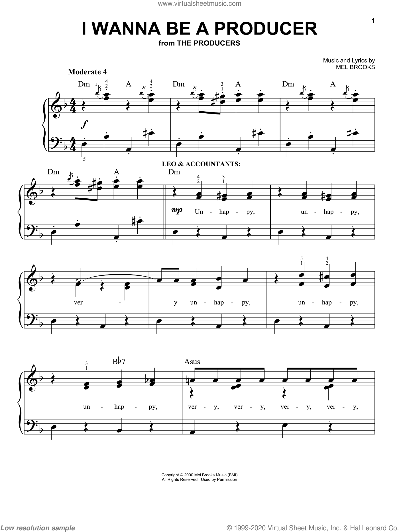 I Wanna Be A Producer sheet music for piano solo (chords) by Mel Brooks