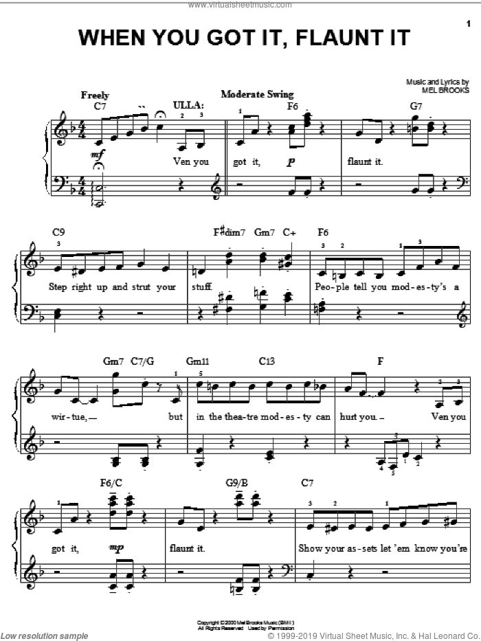 When You Got It, Flaunt It sheet music for piano solo by Mel Brooks and The Producers (Musical), easy skill level