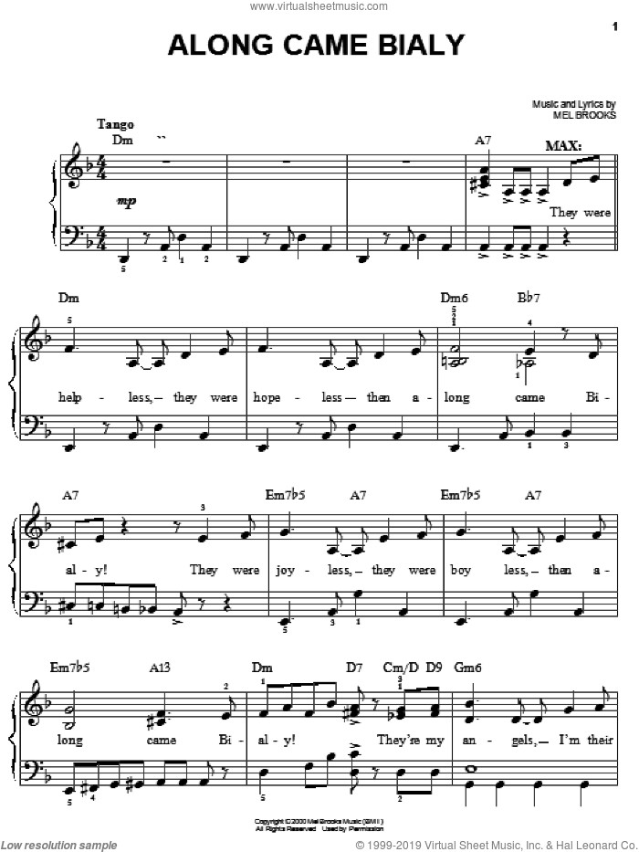 Along Came Bialy sheet music for piano solo by Mel Brooks and The Producers (Musical), easy skill level