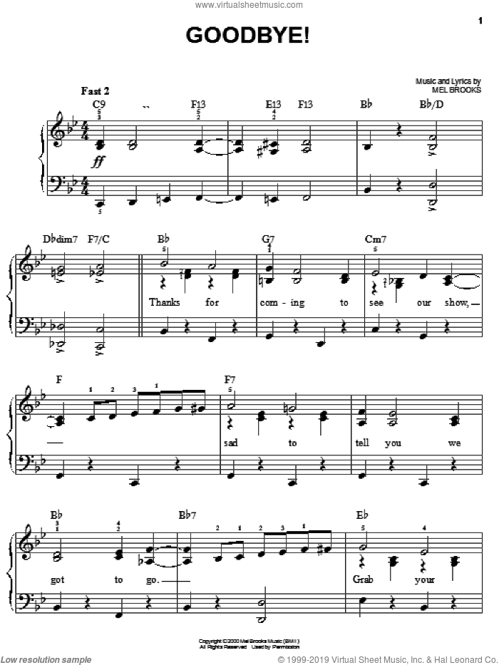 Goodbye! sheet music for piano solo by Mel Brooks and The Producers (Musical), easy skill level