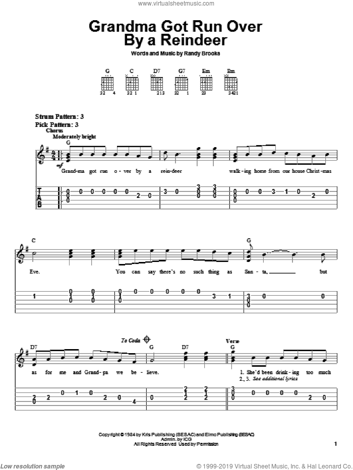 Grandma Got Run Over By A Reindeer sheet music for guitar solo (easy tablature) by Randy Brooks, easy guitar (easy tablature)