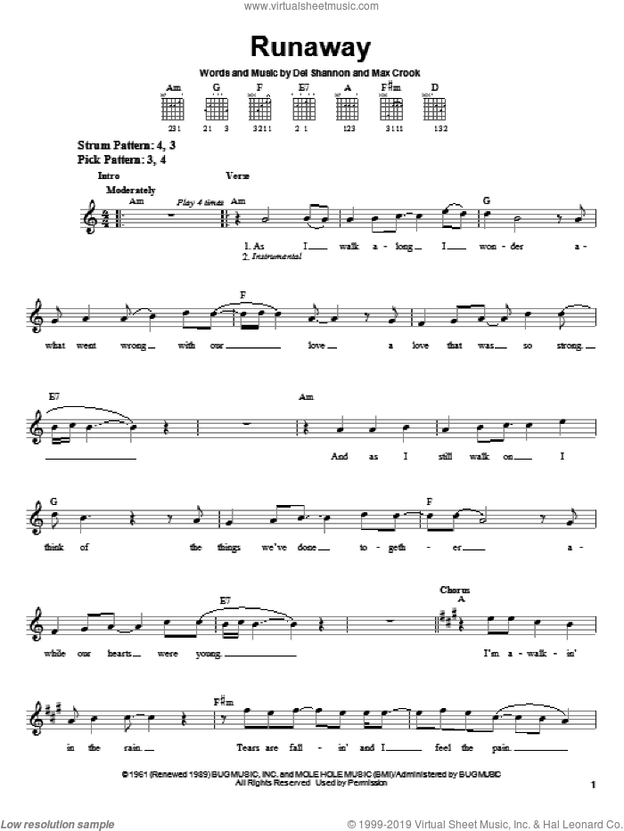 Runaway sheet music for guitar solo (chords) by Del Shannon and Max Crook, easy guitar (chords)