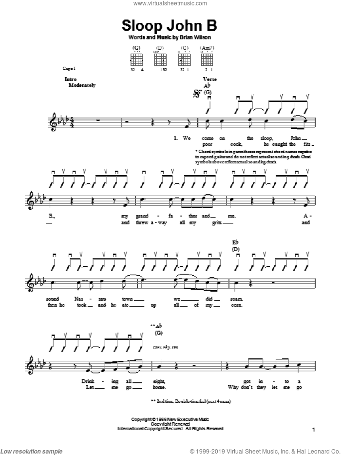 Sloop John B sheet music for guitar solo (chords) by The Beach Boys and Brian Wilson, easy guitar (chords)