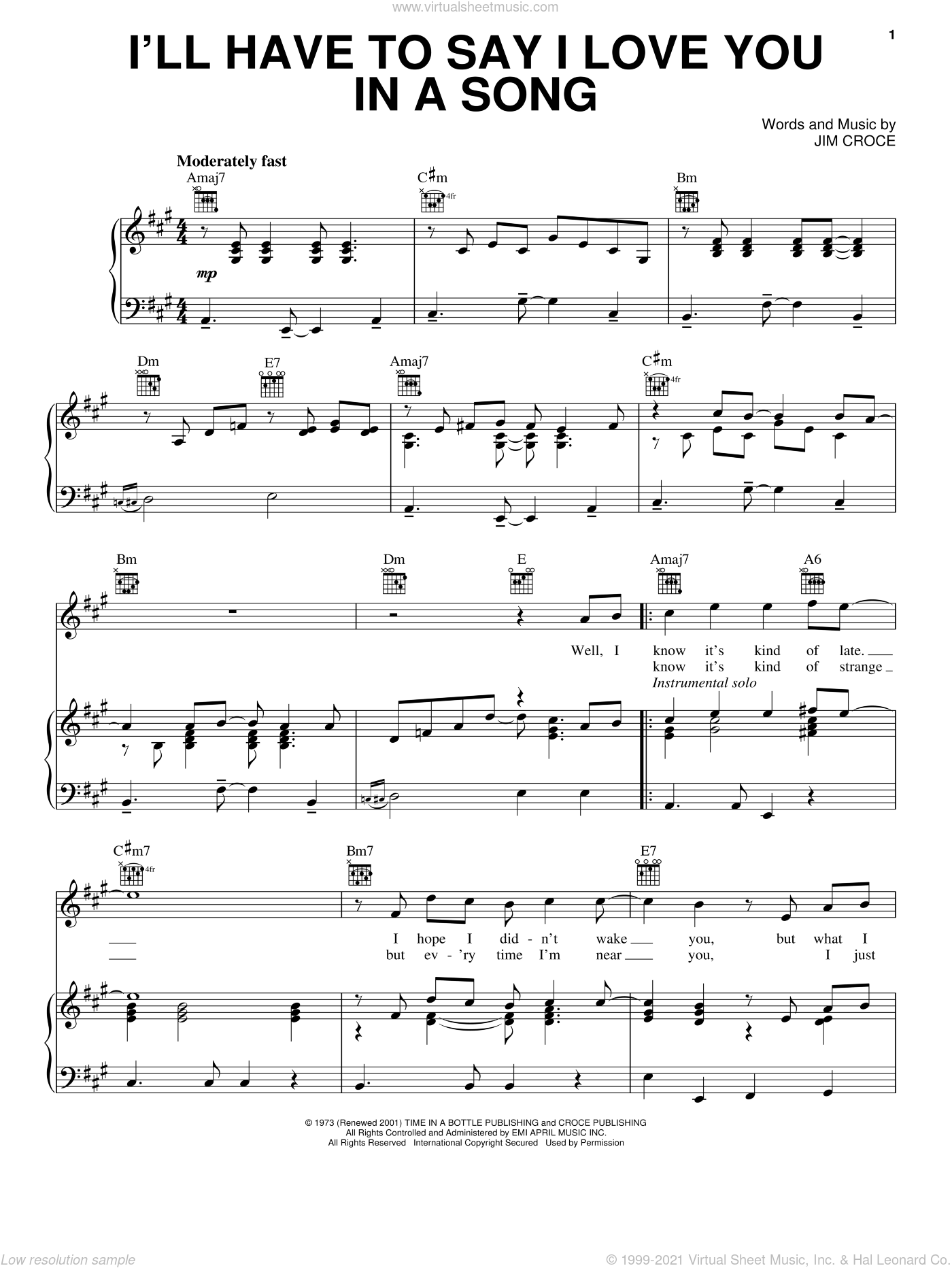 I'll Have To Say I Love You In A Song sheet music for voice, piano or guitar by Jim Croce, wedding score, intermediate skill level