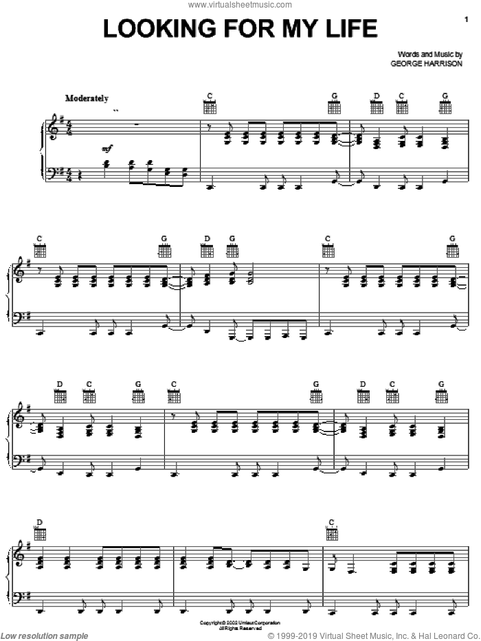 Looking For My Life sheet music for voice, piano or guitar by George Harrison, intermediate skill level