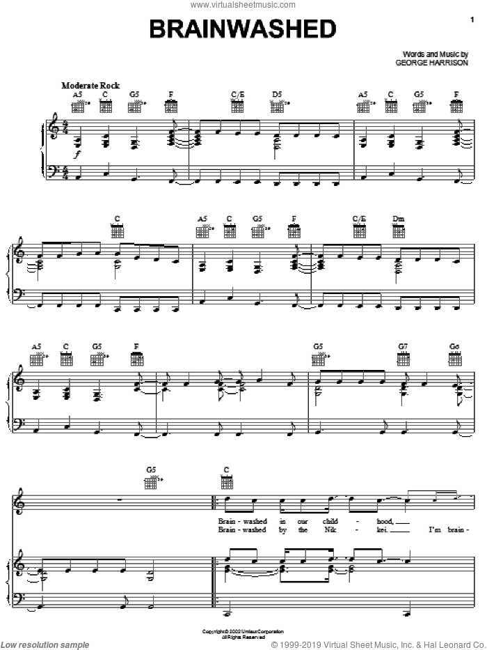 Brainwashed sheet music for voice, piano or guitar by George Harrison. Score Image Preview.