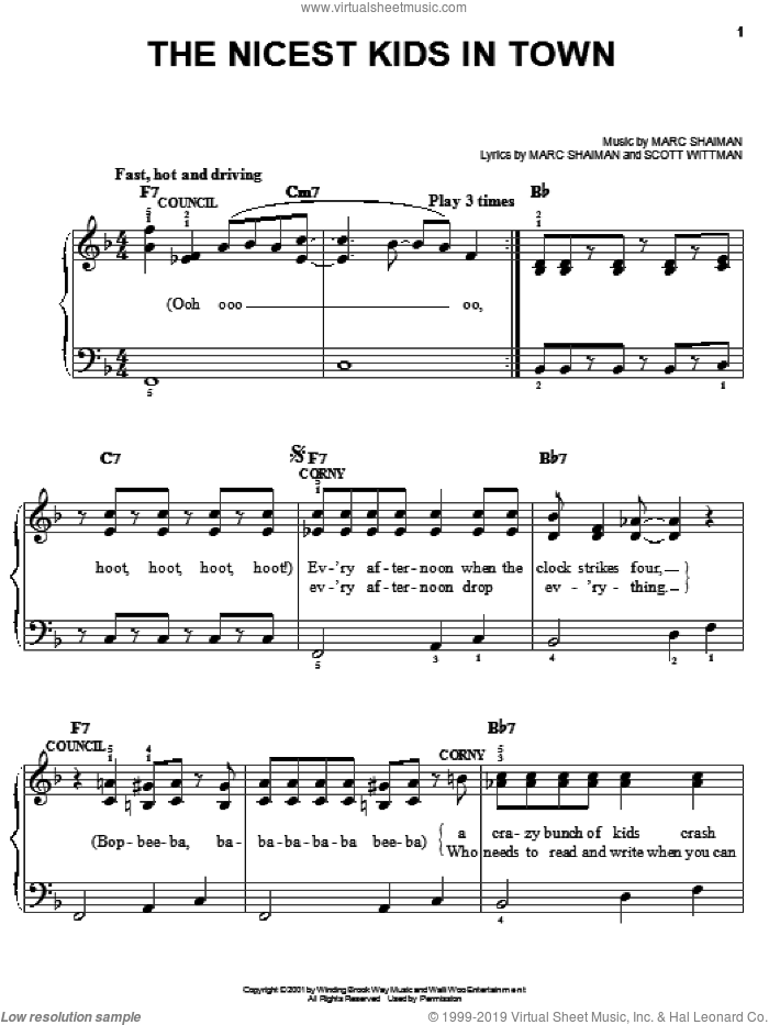 The Nicest Kids In Town sheet music for piano solo by Marc Shaiman, Hairspray (Musical) and Scott Wittman, easy skill level
