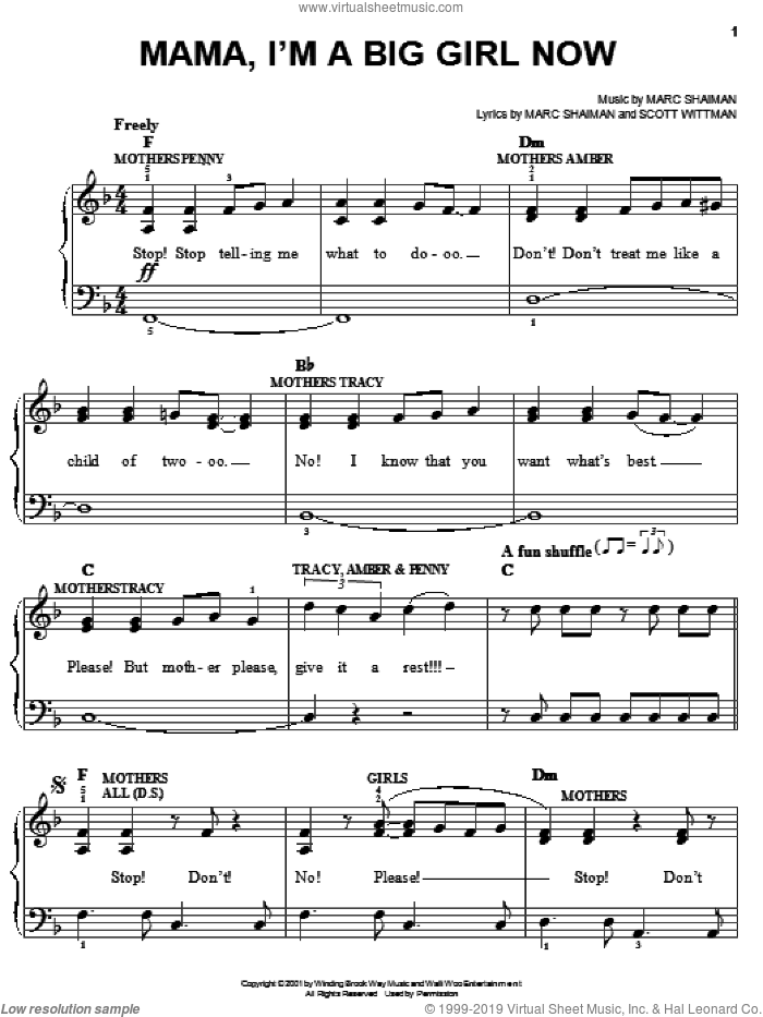 Mama, I'm A Big Girl Now sheet music for piano solo by Marc Shaiman, Hairspray (Musical) and Scott Wittman, easy skill level