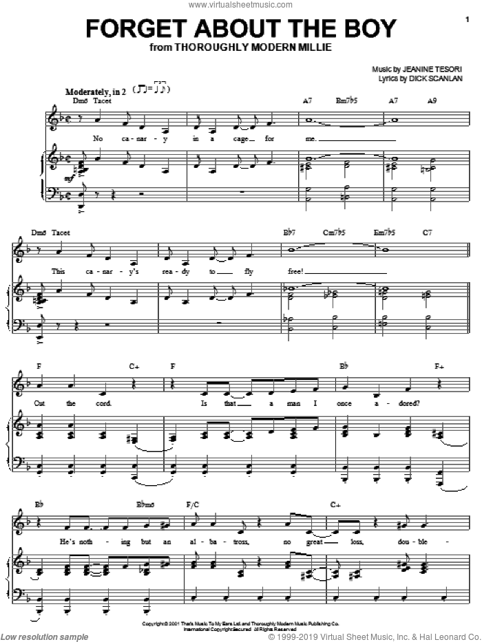 Forget About The Boy sheet music for voice, piano or guitar by Dick Scanlan, Thoroughly Modern Millie and Jeanine Tesori, intermediate skill level