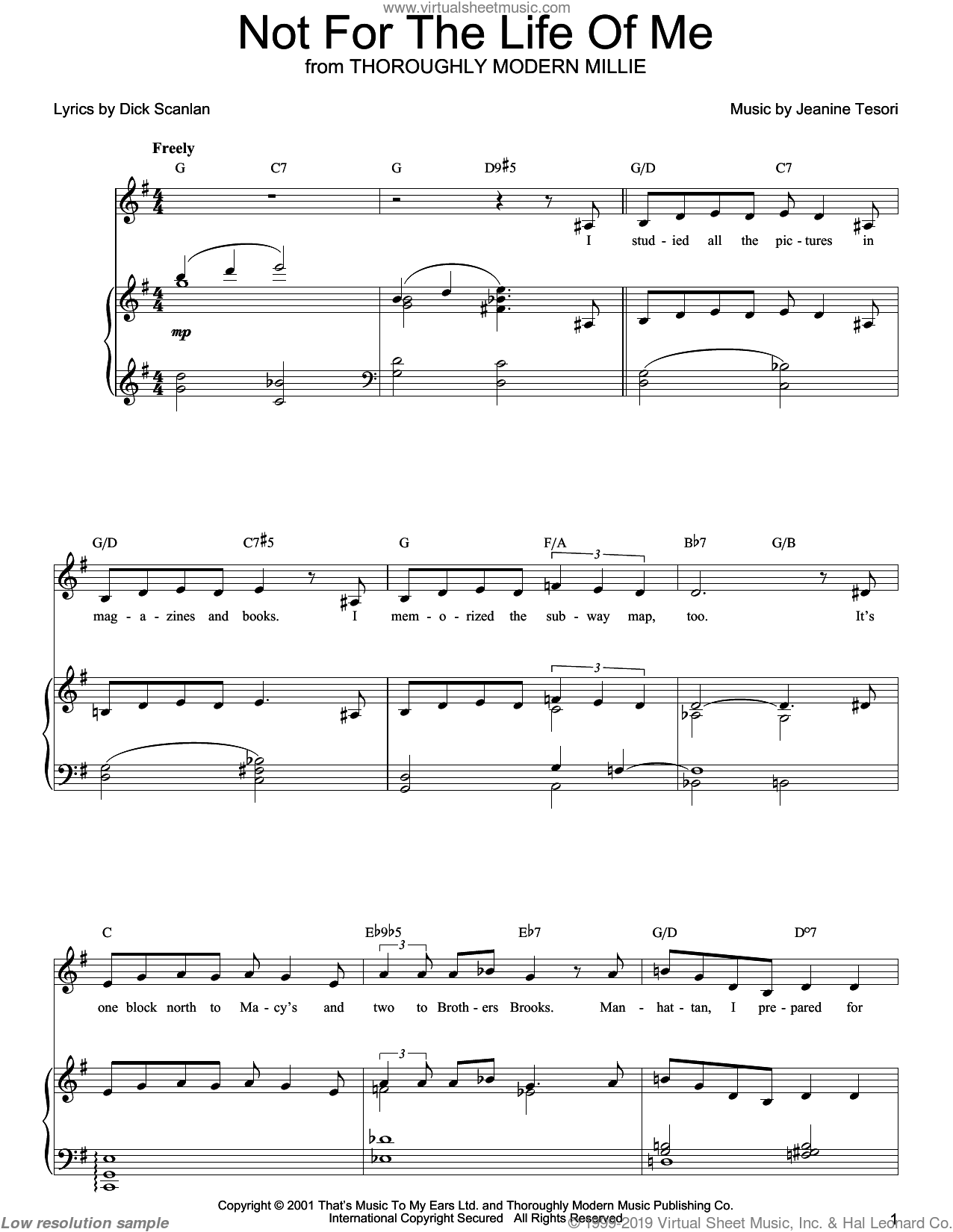 Not For The Life Of Me sheet music for voice, piano or guitar by Dick Scanlan and Jeanine Tesori. Score Image Preview.