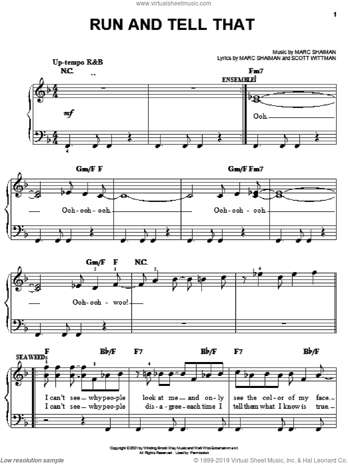 Run And Tell That sheet music for piano solo by Marc Shaiman, Hairspray (Musical) and Scott Wittman, easy skill level