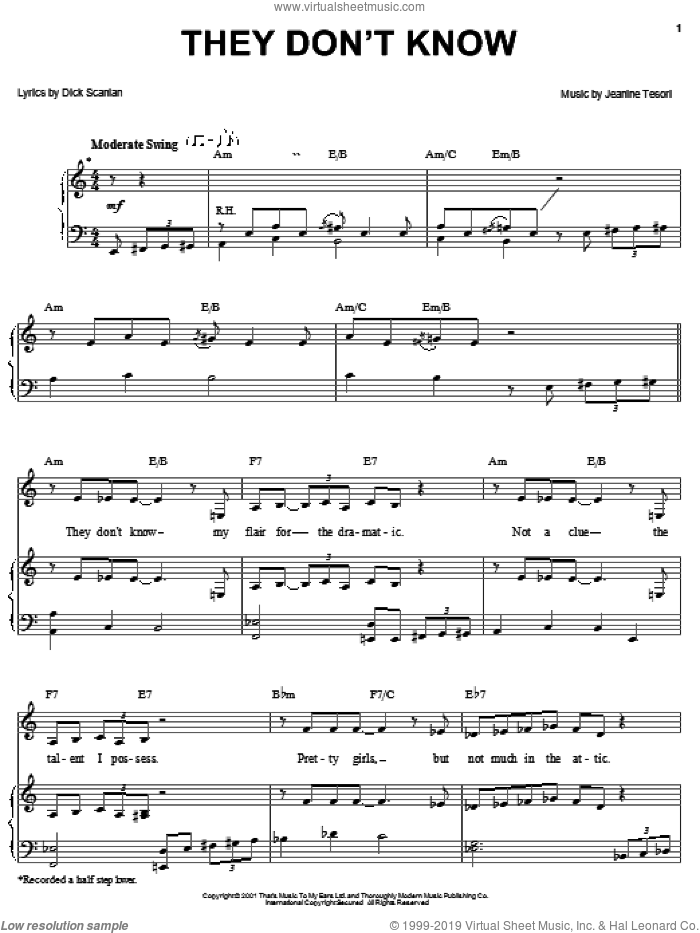 They Don't Know sheet music for voice, piano or guitar by Jeanine Tesori