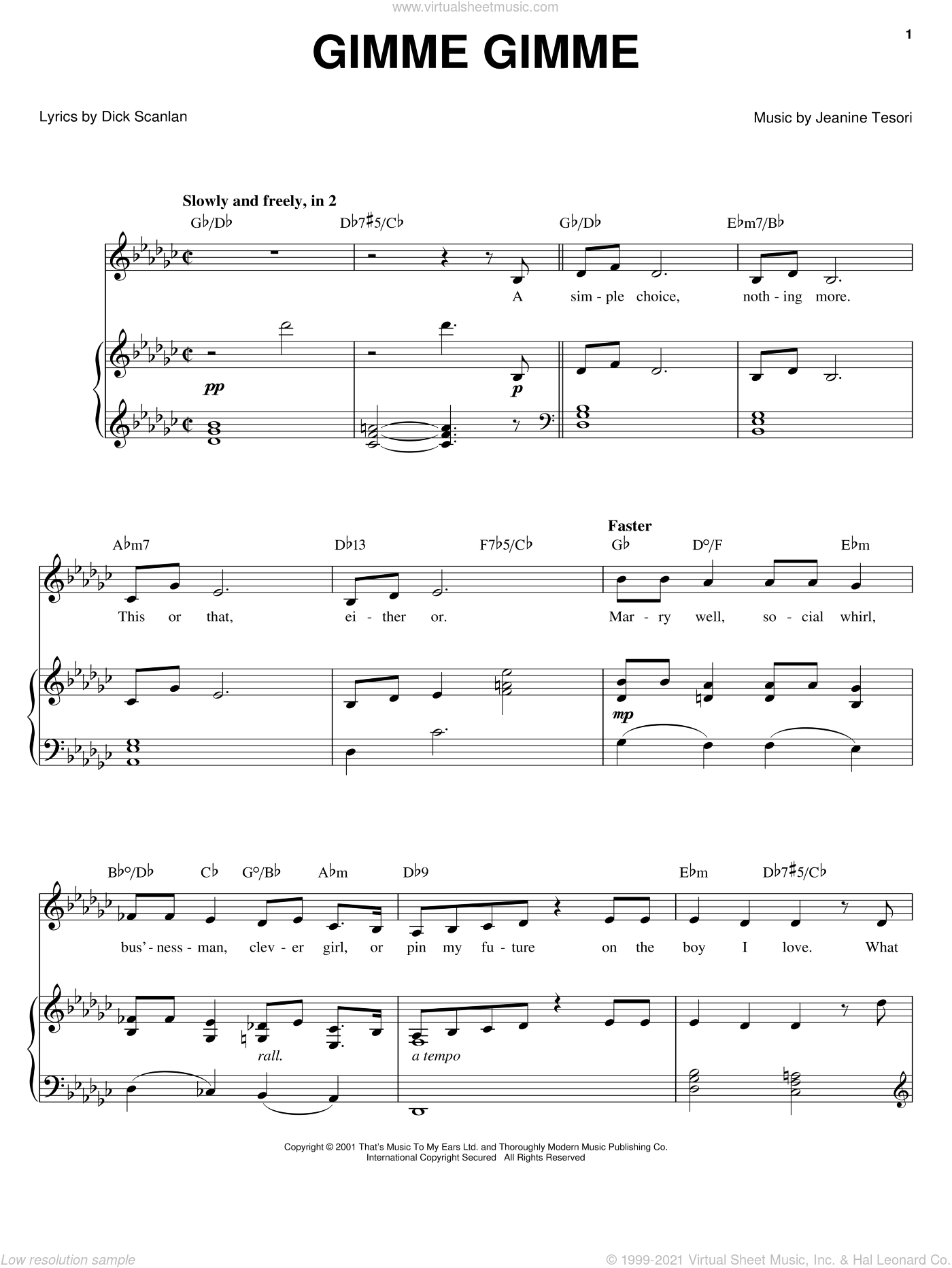 Gimme Gimme sheet music for voice, piano or guitar by Jeanine Tesori and Dick Scanlan. Score Image Preview.