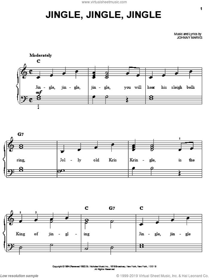 Jingle, Jingle, Jingle sheet music for piano solo by Johnny Marks, easy skill level