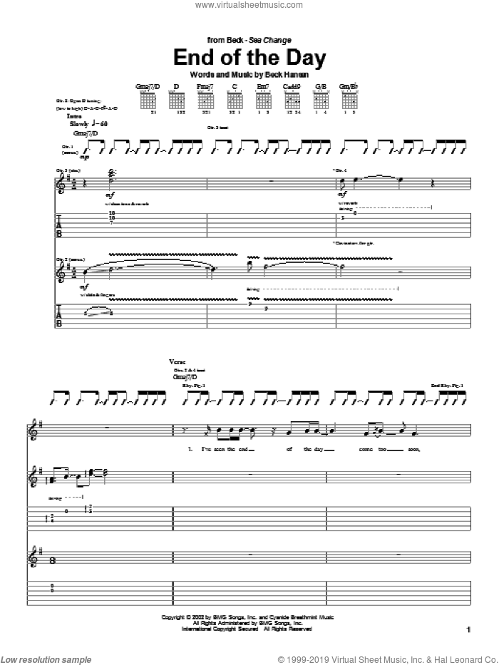 End Of The Day sheet music for guitar (tablature) by Beck Hansen. Score Image Preview.