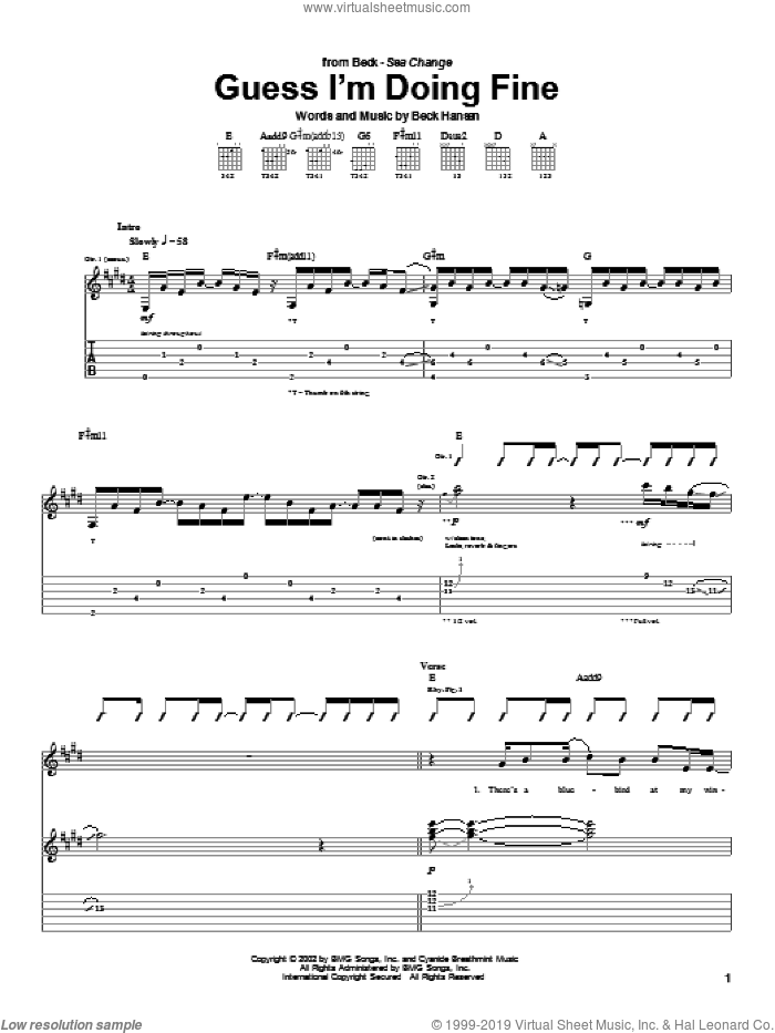 Guess I'm Doing Fine sheet music for guitar (tablature) by Beck Hansen. Score Image Preview.