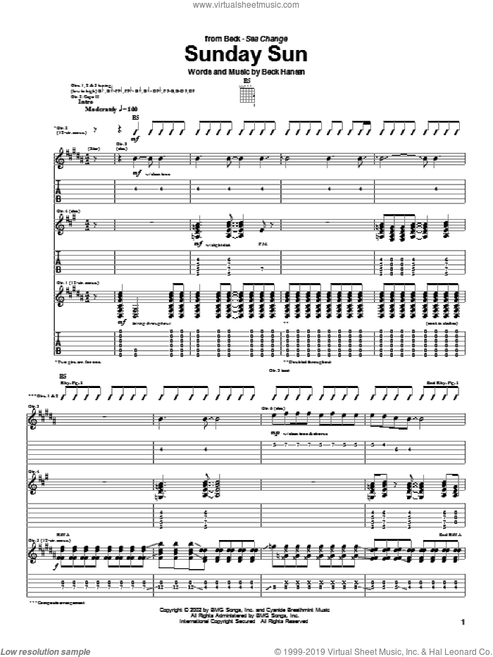 Sunday Sun sheet music for guitar (tablature) by Beck Hansen. Score Image Preview.