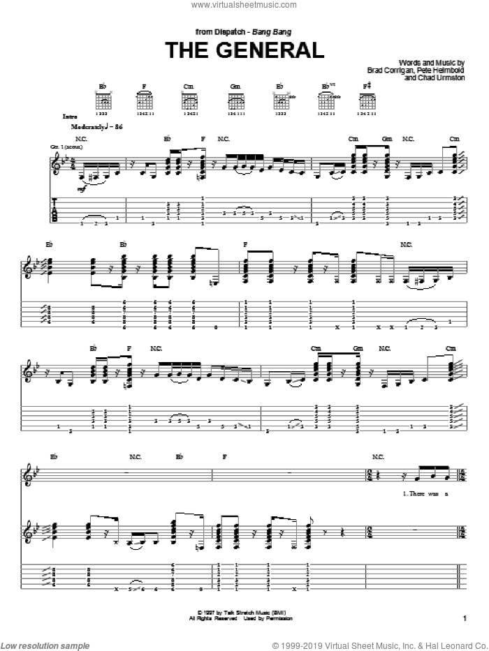 The General sheet music for guitar (tablature) by Dispatch, intermediate. Score Image Preview.