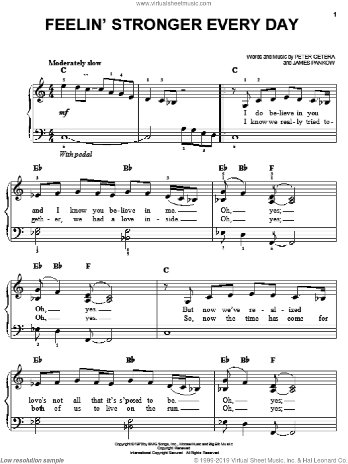 Feelin' Stronger Every Day sheet music for piano solo by Peter Cetera, Chicago and James Pankow. Score Image Preview.