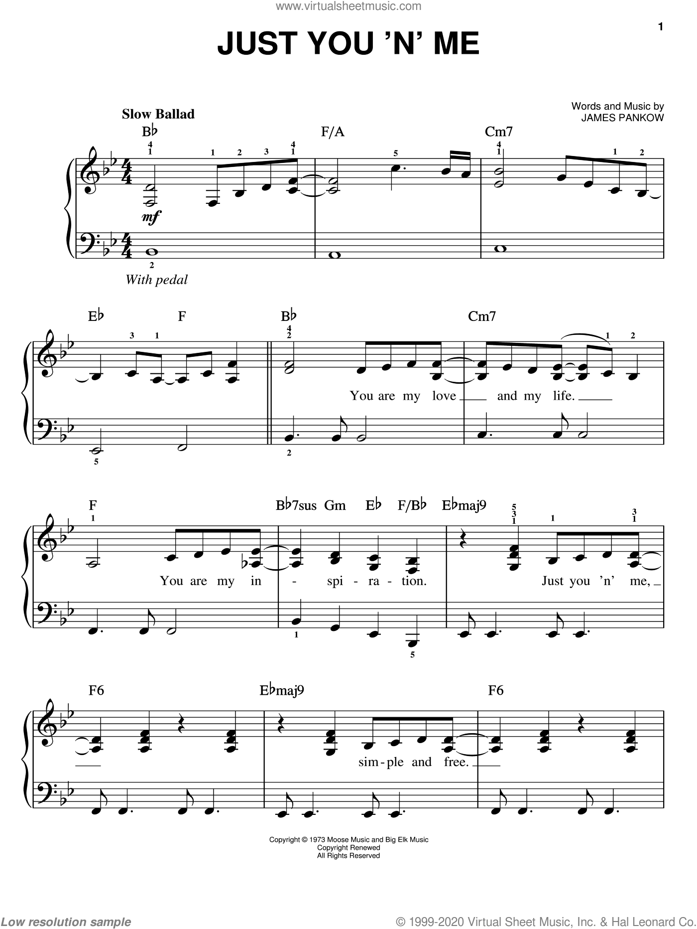 Just You 'N' Me sheet music for piano solo by Chicago and James Pankow, easy skill level