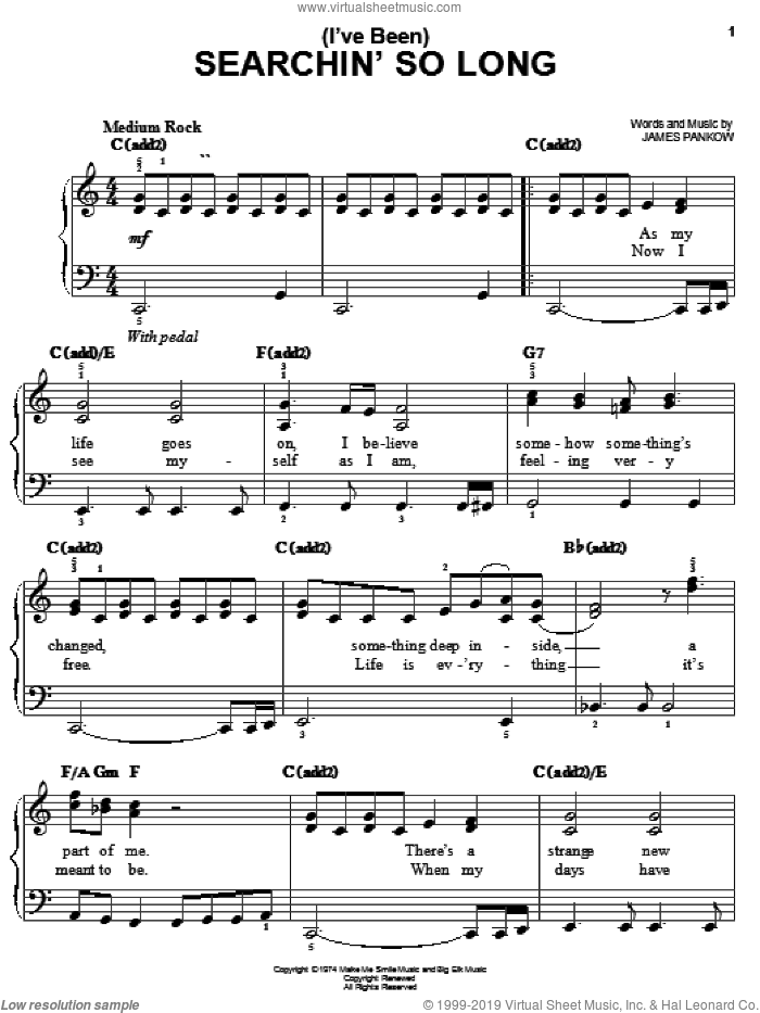 (I've Been) Searchin' So Long sheet music for piano solo by James Pankow