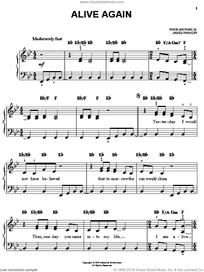 Alive Again sheet music for piano solo by Chicago and James Pankow, easy. Score Image Preview.