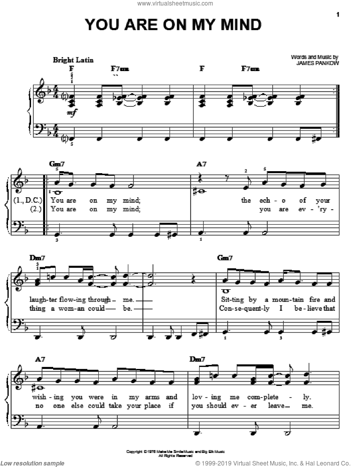 You Are On My Mind sheet music for piano solo by Chicago and James Pankow, easy skill level