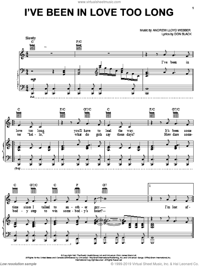 I've Been In Love Too Long sheet music for voice, piano or guitar by Don Black and Andrew Lloyd Webber. Score Image Preview.