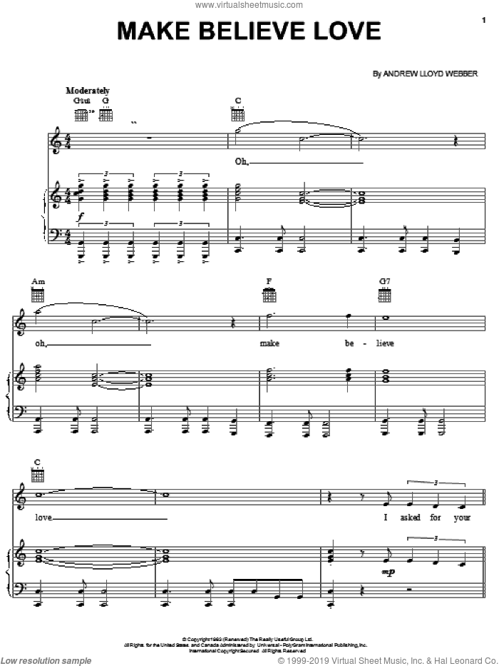 Make Believe Love sheet music for voice, piano or guitar by Andrew Lloyd Webber, intermediate skill level