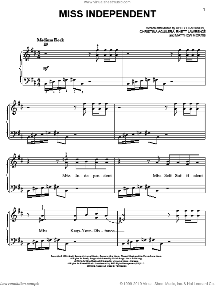 Miss Independent sheet music for piano solo by Matthew Morris