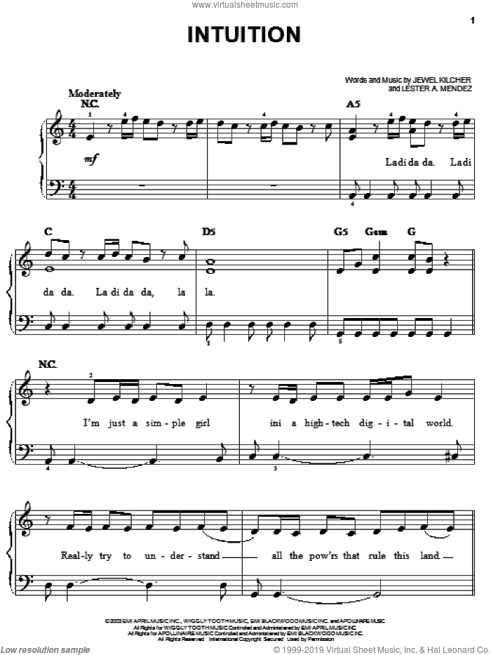 Intuition sheet music for piano solo (chords) by Lester Mendez