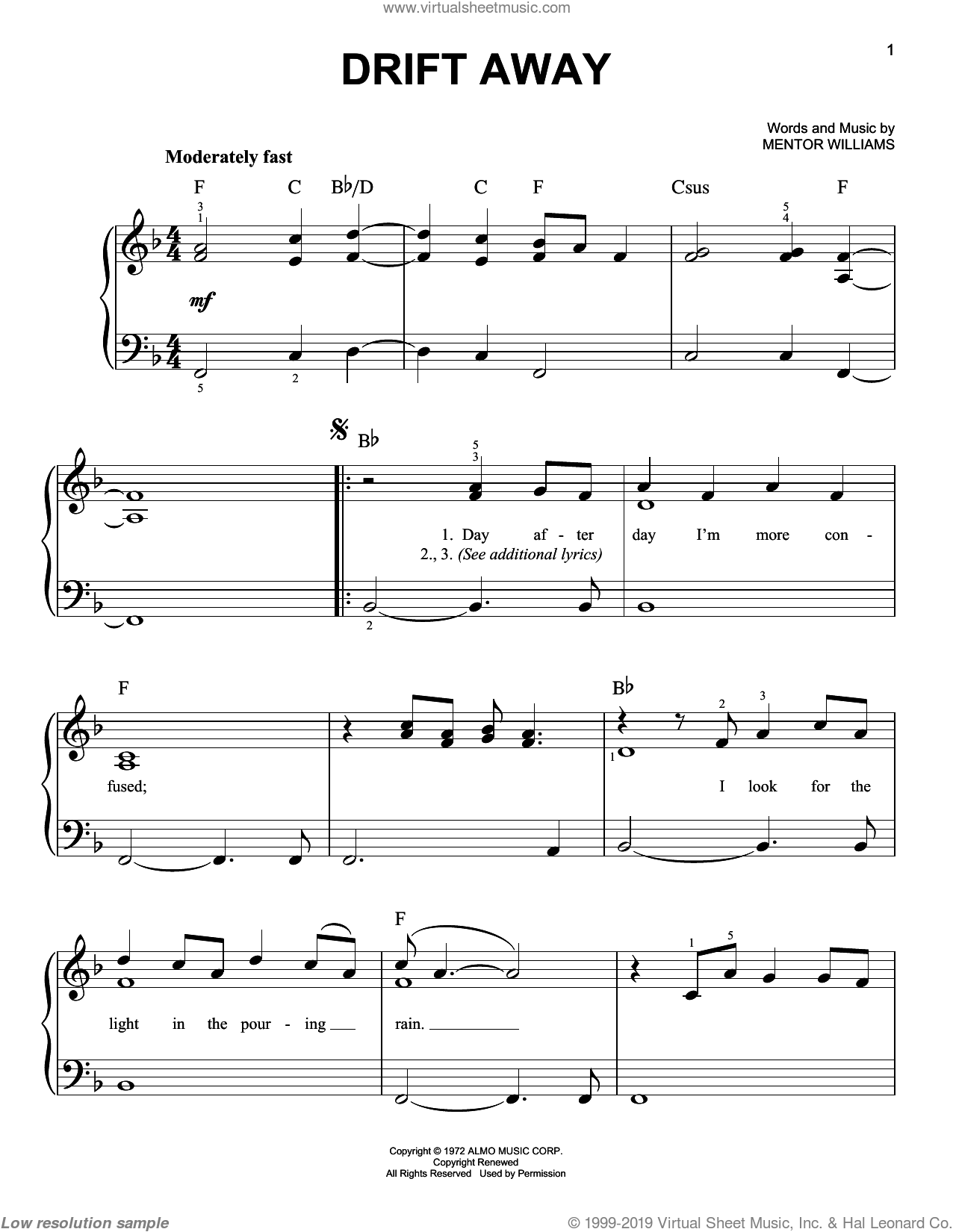 Drift Away sheet music for piano solo by Uncle Kracker, Dobie Gray and Mentor Williams, easy skill level
